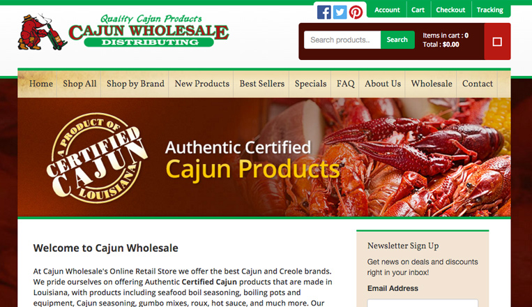 Cajun Wholesale Website